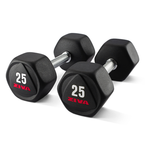 Ziva Premium Virgin Rubber Hex Dumbbell Kinetic